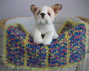 Fancy Dog Blanket. Multi Color Heather-Yellow Stripes-Yellow Faux Fur Trim. Dog. Cat. Cat Blanket. Pet Blanket. Dog Bed. Crocheted Blanket