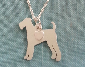 Airedale Terrier Dog Necklace, Sterling Silver Personalize Pendant, Breed Silhouette Charm Rescue Shelter