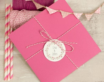 Floral Wreath PINK Personalised Gift Tags (Set of 50)