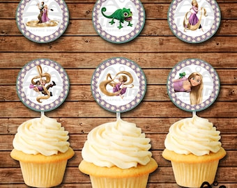 Tangled Birthday Cupcake Topper, Rapunzel Birthday, Disney Princess, Princess Birthday Cupcake Topper, Rapunzel, Tangled