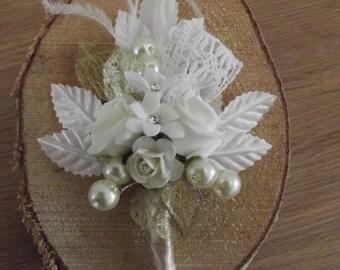 Wedding.Vintage styled corsage.Ivory.Roses gems