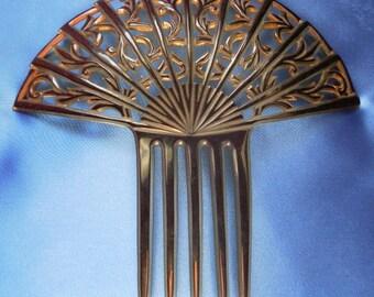 Large Vintage 1920's Celluloid Art Deco Fan Style Hair Comb