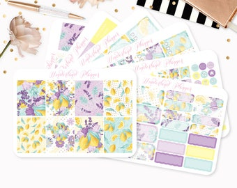 Lemons & Lemonade - Sticker Kit or A La Carte Sheets - Summer Fruit Themed Planner Weekly Kit - 180+ Stickers Erin Condren Vertical Planner