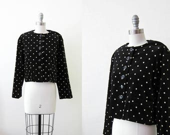 1980s vintage black white crop velvet polka dot jacket blazer jacket s