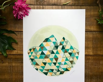 Abstract art print, Mountain, cream, teal, orange, black, triangle, circle,   watercolor painting, illustrated,  archival,  design