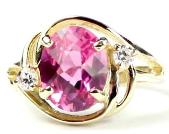 Created Pink Sapphire, 14KY Gold Ring, R021