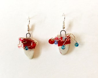 Red Porcelain Earrings with glass beads