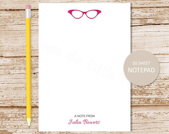 personalized notepad . glasses notepad . eyeglasses note pad . personalized stationery . vintage glasses stationary notepad