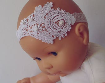 Large white flower and Pearl lace headband