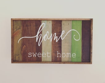 Home Sweet Home Multi Color Rustic Wood Plank Wall Framed Wood Sign