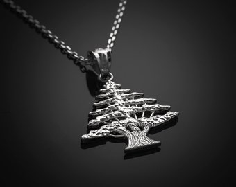 Cedar etsy sterling silver lebanon cedar tree charm necklace aloadofball Image collections