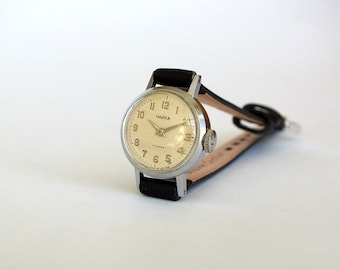 Miniature womens watch. Very small watch Chaika 60s. Vintage mechanical womens wrist watch. Tiny ladies cocktail watch. Gift for her