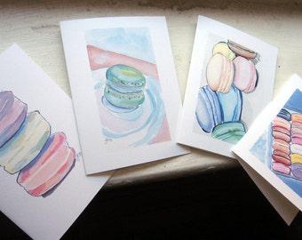 Macaroons Stationery Card Set - Macarons Art Notecards - Food Art Illustration Cards - Set of 8