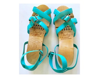 1950's Flexiclogs Wooden Sandals w/ Turquoise Straps