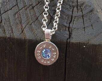 Bullet Necklace..... Silver Federal 500 S&W magnum pendant necklace with Swarovski crystal