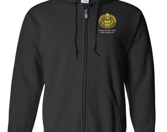 US Army Drill Sergeant Embroidered Hooded Sweatshirt w/ Zipper-7277