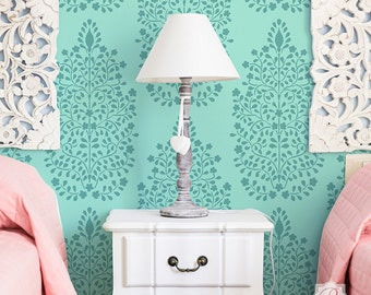 Designer Wall Stencil with Allover Wallpaper Look - Persian Turkish Flowers Painted onto Accent Wall