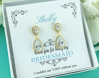 Gold Bridesmaids Earrings, Personalized Bridesmaids Gift Set, Bridesmaid Earrings Teardrop, Kensley Gold Bridesmaids Earrings