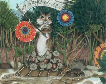 Chipmunk Art Print - Written by Rabbits,  Art Prints, Wall Art, Poster, Acorn, Turtle, Hand Drawn, Woodland drawing, Having it All