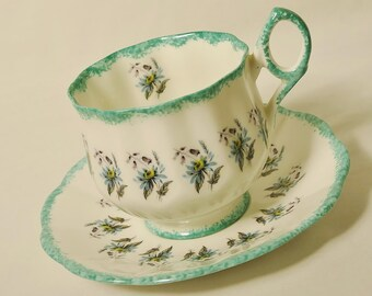Rosina Aquamarine Cup and Saucer, Teacup and Saucer, Vintage Teacup and Saucer