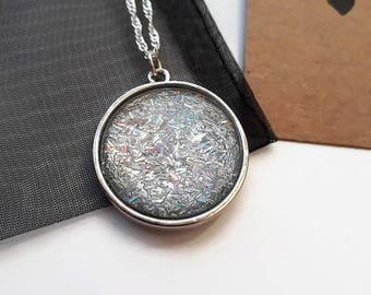 Silver holographic glitter pendant necklace