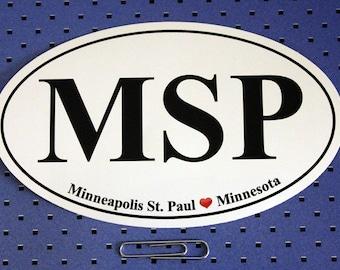 Minneapolis-St. Paul (MSP) Oval Bumper Sticker