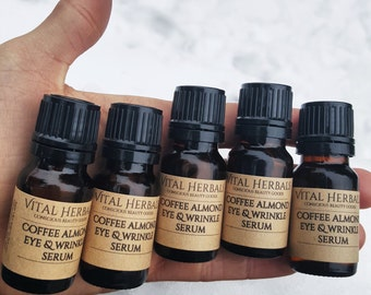 Coffee eye serum - organic eye serum - under eye cream - caffeinated eye serum - caffeinated products - herbal products - eye oil
