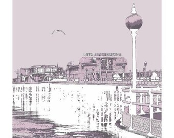 Worthing Pier - Photographic Print Pink, Vintage Art Deco Pier