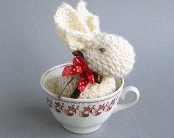 Rustic rabbit  decor Stuffed bunny home decoration Spring ivory rustic country indoor decor Waldorf animal - 1piece