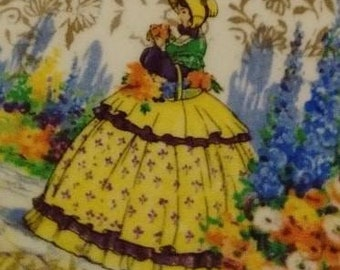 Pair / Set of two vintage crinoline lady china sandwich plates / biscuit plates / serving plates - afternoon tea - yellow crinoline lady
