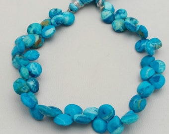 Very nice quality TURQUOISE faceted heart shaped beads, turquoise 7x8 mm -- 8x8.5 mm , 8 inch strand  [E0861] turquoise beads