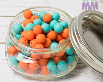 10 balls - set beads silicone 12mm - food beads - teething necklace - round - chewable beads - 10 pieces