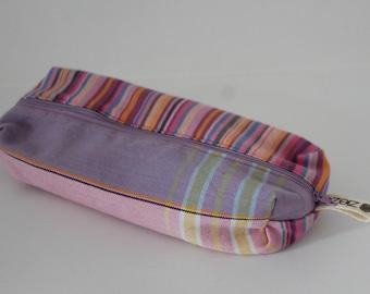 Pink Rainbow Stripes Kikoy Pencil Bag