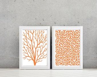 Sea Coral Art - Sea Coral Print - Sea Coral Decor - Nautical Decor - Nautical Art - Bathroom Art -  Bath Decor - Orange White  (NS-603)