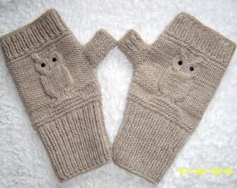 Owl fingerless gloves Owl fingerless mittens Grey and beige fingerless gloves with black crystals