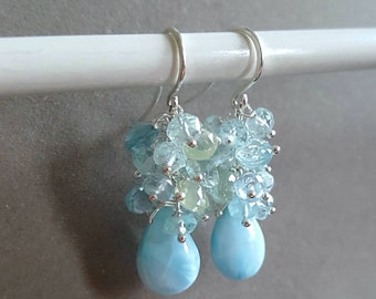 New! Larimar Aquamarine Gemstone Cluster Earrings On Sterling Silver Gift for Her