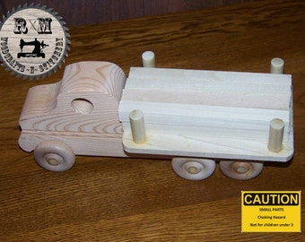 Wood Toy,  Wood Toy Lumber Truck, Push Toy
