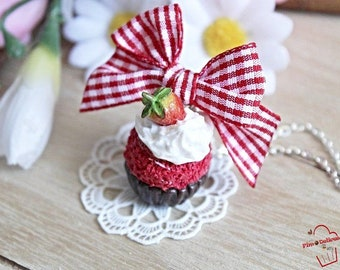FIMO strawberry chocolate cupcake necklace
