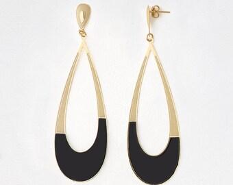 Dangle Earrings, Shiny Gold Plating Earrings, Black Enamel - My Jewelry Spot