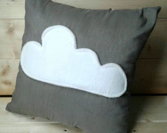Decorative cushion silver grey and white - 40 x 40 cm - cloud