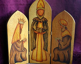 Three Wisemen Hand Painted Three Panel Hinged Wooden Table Decor Cira 1977 One of a Kind Original - Christmas, Yule, Nativity