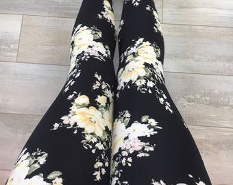 "Leggings for women, ultra comfortable in ""brushed poly"" yellow flowers on black polyester/spandex"