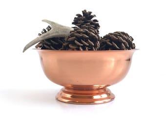 Vintage Copper Craft Guild Footed Bowl, Large Vintage Coppercraft Guild Footed Pedestal Bowl