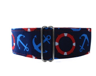 2 inch Martingale Collar, Nautical Martingale Collar, Nautical Dog Collar, Anchor Dog Collar, Red Dog Collar, Whippet Collar