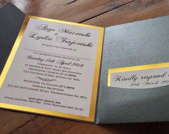 gold foil invitation for wedding with pocket, envelope and seals