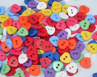 50 x Bright Assorted Colours Resin Heart 2 Hole Buttons 11mm - Valentines Hearts -  WB5