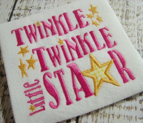 Twinkle Little Star Embroidery Design Star Embroidery Star