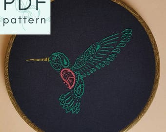 Paisley Hummingbird Embroidery Pattern - PDF - Hand Embroidery - Contemporary Embroidery - Hoop Art