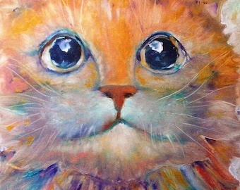 oil painting. The cat in the rays of spring. 60x40 See Hardboard.