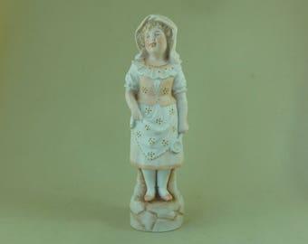 Girl Lady Cook Figurine Victorian German Bisque Porcelain Antique